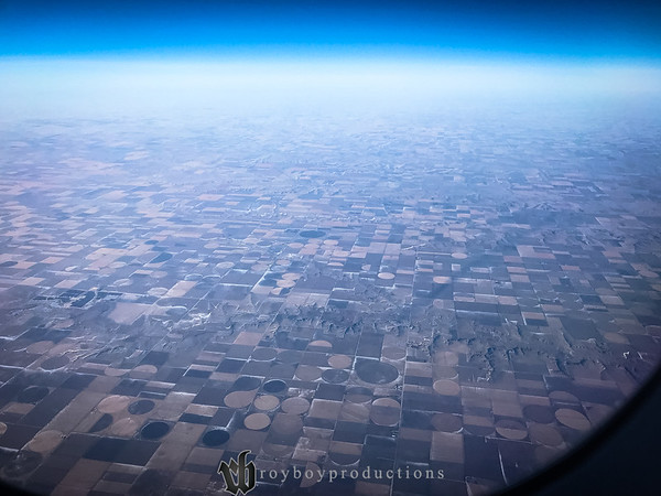 The patchwork that is western KS from 32,000 feet. This was my first trip west in the light so it was the first time I could see all of the cities from the air by day instead of guessing which cluster of lights is which city.